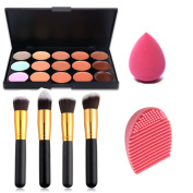 Start makers® 15 Colours Ultra Contour Palette Kit - 4 Professional Makeup Brushes - Cosmetics Brushes Silicone Clean Egg - Makeup Sponge