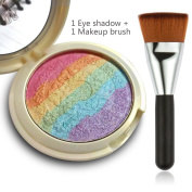 MLMSY Baked Rainbow Highlighter Makeup Palette Cosmetic Blusher Shimmer Powder Contour Eyeshadow & One matching makeup brush