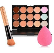 Sping Professional 15 Colours Concealer Camouflage Contour Eye Face Cream Makeup Palette with Cosmetics Faciall Make up Brush And Makeup Blender Foundation Puff Multi Shape Sponges