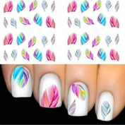 5pcs Beauty Rainbow Colour Feather Nail Art Tips Nail Decal Water Transfer Stickers Nail DIY Decoration Tools Tattoo Sticker