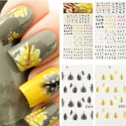 11 in 1 Colourful Peacock Feather Nail Art Tips Nail Decal Stickers Nail DIY Decoration Tools Tattoo Sticker