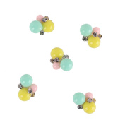RAIN QUEEN Cute Style Alloy Silver Yellow Blue Pink Beads Nail Art for DIY D¨¦cor Pack of 5pcs