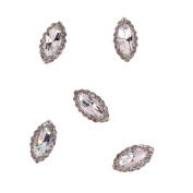 RAIN QUEEN Alloy Silver Oval Nail Art Multi-slices Rhinestones Glitter Decal Stickers for DIY D¨¦cor Pack of 5pcs