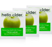 Organic Apple Cider Vinegar ACNE FACE WIPES w/ Rose & Tea Tree Water. Toner, Cleanser, 25 Wipes by Hello Cider