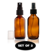 (2) Glass Amber Bottles with Fine Mist Sprayer 60ml