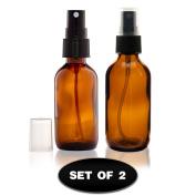 (2) Glass Amber Bottles with Fine Mist Sprayer 60ml
