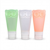 BTArtbox 3 Pcs 80ml Portable Soft Silicone Travel Bottles Set with Double Sucker BPA Free TSA Airline Approved Leak Proof Ideal for Business Travel, Vacation, Camping