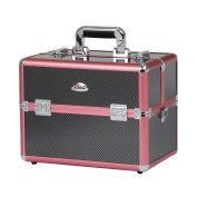 Sunrise Professional Cosmetic Train Case Makeup Organiser with 6 Tier Trays, Pink Diamond