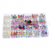 Souarts Mixed Colour Round Oval Butterfly Shaped Acrylic Spacer Loose Beads with Storage
