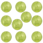 Peridot Green Round 6mm Silver Foil Murano Glass Bead .925 Silver Foil, 10 Pieces