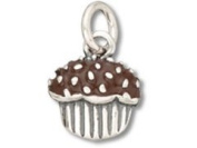 Sterling Silver and Enamel Chocolate Cupcake Charm