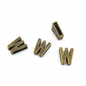 80 Pieces Jewellery Making Charms Findings Antique Bronze Brass Fashion Jewellery Wholesale Supplies Pendant Lots Bulk Supply NZ072 Alphabet Letter W Loose Beads
