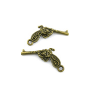 220 Pieces Jewellery Making Charms Findings Antique Bronze Brass Fashion Jewellery Wholesale Supplies Pendant Lots Bulk Supply CV030 Pistol Gun