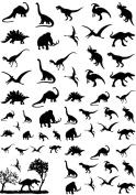 Dinosaurs 1.3cm - 1.9cm - Black 16CC656 Fused Glass Decals