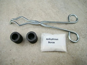 2-Graphite Crucibles & Tong+Anhydrous Borax -Gold Recovery-Melting-Silver Kit