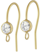 14/20 Kt Gold Fill Earring Wire with Bezel Set 4mm White AAA CZ and Ring, Pair