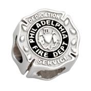 Philadelphia Fire Charm (PFD) - Silver Charm - Fits Pandora Bracelet