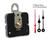 Takane Quartz Clock Movement Mechanism With 7.6cm Black Spade Hands and Red Second Hand, U.S.A. Made