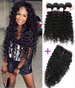Etino Hair 3 Bundles Brazilian Virgin Hair Deep Wave Bundles with 4*4 Free Part Lace Closure 100% Unprocessed Human Hair Weave Extensions Nature Colour