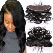 Youth Beauty® Brazilian Virgin Human Hair Body Wave Free Part Lace Frontal Closure Bleached Knots 33cm x 10cm Full Lace Frontal Piece 41cm