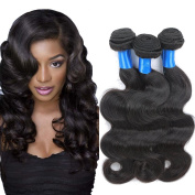SUPERLOVE Brazilian Body Wave 3 Bundles,Human Hair Weft,100g/Bundle,Natural Colour (16 18 20) Inches