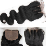 Youth Beauty® Body Wave Silk Base Top Closure Bleached Knots Free Part 10cm X 10cm Brazilian Virgin Human Hair closure Natural Colour 25cm