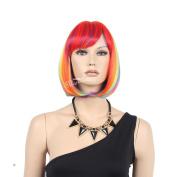 STfantasy 30cm Short Bob Colourful Rainbow wigs For Women