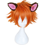 RightOn New-Arrival Cool Boy Men's Original Design Fox Nick Cosplay Costume Party Short Layered Wig With Free Wig Cap and Comb