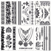DaLin 6 Sheets Henna Temporary Tattoos Stickers Lace Tattoos for Girls Women Wedding Necklace Bracelets Patterns Black Tattoo