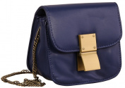 AimTrend Fashion Quilted Crossbody Handbag with Metal Chain Strap - Navy