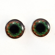 Sew On Eyes Green Brown Human Loops 16mm Glass Eye Cabochons for Fantasy Art Doll Stuffed Animal Soft Sculptures or Jewellery Making Crafts Set of 2