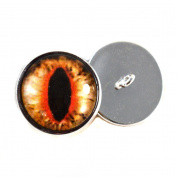 Bright orange Cat or Dragon Eyes With Sew In Loops 16mm Glass Eye Cabochons for Fantasy Art Doll Stuffed Animal Soft Sculptures or Jewellery Making Crafts Set of 2