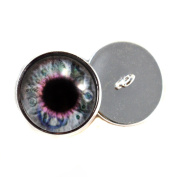 Steampunk Sew On Glass Eyes With Loops 16mm Glass Eye Cabochons for Fantasy Art Doll Stuffed Animal Soft Sculptures or Jewellery Making Crafts Set of 2