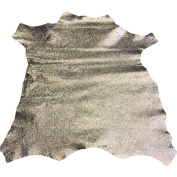Best Quality Hide from Leather Treasure Shop✮Genuine Spanish Full Skins✮Light Silver Colour✮0.2sqm✮60ml avg Thickness✮Metallic Cracked Finish✮Lambskin✮Improve The Look of Your Leather Projects Now!