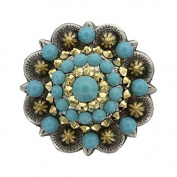 Swarovski Rhinestone Crystal Antique Silver and Gold Berry Concho - Turquoise and Crystal Aurum - 1-3/4