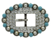 . Rhinestone Crystal 1.9cm Antique Silver Cart Berry Buckle - Crystal Turquoise