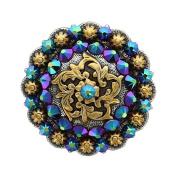 Coloma Gold Rhinestone Crystal Berry Concho - Crystal Scarabaeus Green - 2.5cm