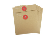 Bilipala 5pcs Thick Brown Kraft Paper CD DVD Discs Bags Covers Cases with Buckle