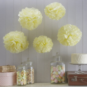 Sorive® Yellow Tissue Paper Pom Poms 5 Pack Wedding, Christmas & Party Decorations - Vintage Lace