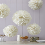 Sorive® Ivory Tissue Paper Pom Poms 5 Pack Wedding & Party Decorations - Vintage Lace