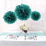 Sorive® 12PCS Mixed Teal Green Party Tissue Paper Flower Pom Poms Wedding Pompoms Garland Bridal Shower Birthday Party Decor bySorive