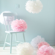Sorive® Pack of 9 White Pink & Ivory Tissue Paper Pom Poms