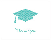 50 Cnt Chevron Graduation Cap Thank You Cards