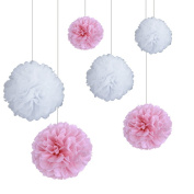 SUNBEAUTY Pack of 6 Mix Sizes 15cm /20cm /25cm White Baby Pink Tissue Paper Pom Poms Flowers Paper Decoration Wedding Party Baby Girl Room Nursery Decoration