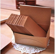 Akak Store 100 Pieces 9 x 5.4 cm Kraft Paper Card Double-sided Available Blank Kraft Cardboard Word Card Message Card DIY Blank Gift Card