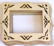 Cardinal Arts & Crafts Unfinished Laser Cut 4x6 Wood frame, Set of 4
