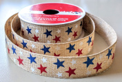 Red, White and Blue Stars 2.2cm . x 3.7m Celebrate It 100% Polyester Decorative Ribbon - Great for 4th of July!