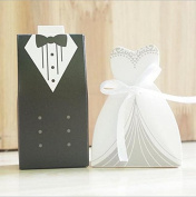 Hosaire 100pcs Mini Bride Gown Groom Tuxedo Sweets Wedding Shower Favour Bags