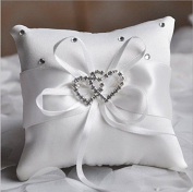 Hosaire White Ring Pillow Bow Diamond Double Heart Shaped Wedding Decoration