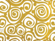 Gold Swirls on White Gift Wrap Paper 4.6m Roll